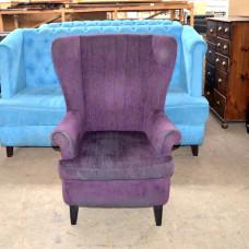 Кресла б/у ткань фиолетовые с высокой спинкой
